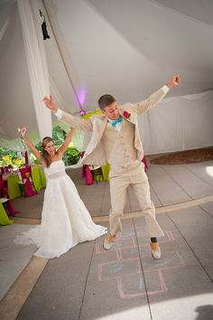 """Wedding Hop Scotch. Inspired by Lily Pulitzer. Photography by FamZing Photography and Video, Gowns by David's Bridal, Tuxedoes by Men's Warehouse. """"In A Southern Mood"""" is a Platinum Bridal Show Theme for Wedding Festivals."""