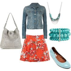 Luv the combo of the denim jacket with a floral skirt... I know. I'm ready for spring already.