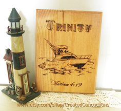 CUSTOM wood burned sign featuring your Boat and its Name. A really unique gift for the sailor in your life, don't you think?  by CreatedConcoctions