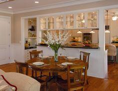 Small Kitchen Dining Room Combo Design Ideas 4 Home Decoration Ideas Kitchen Pass, New Kitchen, Semi Open Kitchen, Family Kitchen, Kitchen Small, Kitchen Floor, Half Wall Kitchen, Closed Kitchen, Kitchen Reno