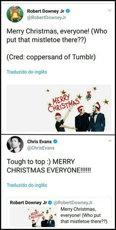 They know the shipp exists. Stony is real! (From Robert and Chris twitter accounts in 12/25/17)