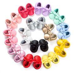 16 Colores de la Marca de Primavera Zapatos de Bebé Recién Nacido Niños Niñas Zapatos de Cuero de LA PU Primeros Caminante Mocasines Bebé 0-18 Meses