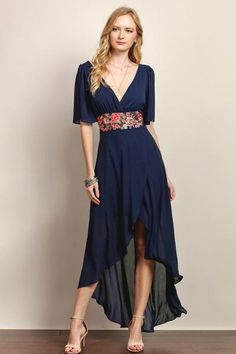 Beautiful Navy Maxi Dress with tie back detailing. So Gorgeous with the high front and falling back..