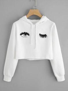 Blink One Eye Print Crop. Hoodie Hoodies For Teens // Cute Hoodies // Hoodies Womens // Hoodie Outfit // Hoodie Cool // Hoodie Aesthetic // Hoodie Sweatshirt // Cropped Hoodies // Crop Top Hoodie, Cropped Hoodie, Sweater Hoodie, Hoodie Outfit, White Hoodie, Outfit Jeans, Mode Outfits, Girl Outfits, Casual Outfits