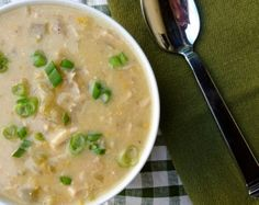 Low Calorie Slow Cooker Turkey Green Chili Chowder | A creamy and delicious way to use up leftover Thanksgiving turkey. 190 calories, 5 #WeightWatchers Points Plus. http://simple-nourished-living.com/2012/12/turkey-green-chili-chowder-recipe/