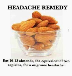 <3 ORGANIC World - Headache Remedy - Eat 10-12 almonds, the equivalent of two aspirins, for a migraine headache