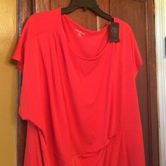 Lane Bryant coral top Very cute, short sleeve, coral top.  NWT.  Size 2X, Lane Bryant! Lane Bryant Tops Blouses
