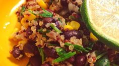 "Quinoa and Black Beans : ""Very flavorful alternative to black beans and rice. Quinoa is a nutty grain from South America. Black Beans And Rice, Quinoa, Grains, Healthy Recipes, Food, Health Recipes, Meal, Essen, Hoods"