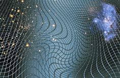 This is an artistic rendering of spacetime being warped by the mass of a galaxy. Einstein's theory of general relativity predicts this warping as well as gravitational waves that propagate throughout spacetime.