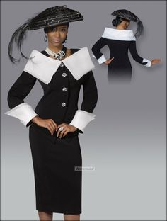 Back by Popular Demand Womens Donna Vinci Black and Off-White Suit 5381
