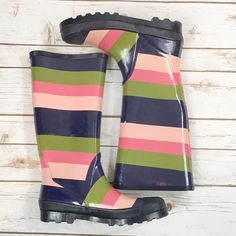 J.Crew Rain Boots•HP• J.Crew  Rain Boots  Stripe  Used Condition  Wear shown (Last Pic-pull on scratches)  These have no visible branding  Size 10 Price is Firm  ask questions before buying please. J. Crew Shoes Winter & Rain Boots