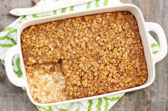Amish Baked Oatmeal – The Fountain Avenue Kitchen haferflocken Amish Baked Oatmeal, Baked Oatmeal Recipes, Baked Oats, Cooking Oatmeal, Cinnamon Oatmeal, Blueberry Oatmeal, Oatmeal Bars, Amish Recipes, Gourmet Recipes