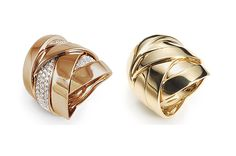"Mattioli is launching many new pieces at Vicenzaoro Fall, including these ""Wrap"" rings from the Maldamore collection, made in 18-karat rose gold with diamonds ($5,100) and 18-karat yellow gold ($2,710)."