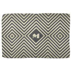 #stripes - #Charcoal and Beige Diamond Monogram Kitchen Towel
