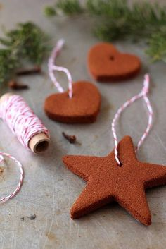 Homemade Cinnamon Ornaments... Look great  make the tree smell wonderful or hanging from cabinet handles to give the kitchen a homey smell!!!