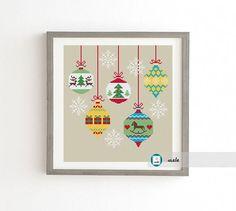 Christmas globes cross stitch  pattern, modern pattern, PDF, DIY ** instant download**