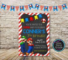 Super Mario Bros Birthday Invitation // Mario and Luigi Digital Invitation