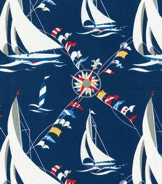 Waverly Home Décor Nautical Blue Set Sail Fabric