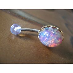 Pink Opal Belly Button Jewelry Stud Ring- Navel Piercing Bar Barbell ($20) found on Polyvore
