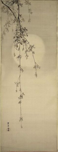 "Terasaki Kogyo, ""Cherry Blossoms & Moon""; Japanese, c.1890-1910 118.8 x 46.2cm.  unmounted; ink and light colour on silk.  Museum of Fine Arts, Boston"