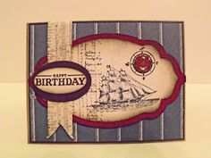 One of my favorite Stampin' Up! Stamp Sets...Open Sea...Cherry Cobbler, Naturals, Crumb Cake and retired DSP.  Stamped twill tape and build-a-brad embelish this great card!