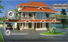 Front Design of Indian House & Traditional House Plans Kerala Style Kerala Traditional House, Traditional Style Homes, Traditional House Plans, Small Contemporary House Plans, Modern House Floor Plans, House Plans With Pictures, House Design Pictures, Four Bedroom House Plans, Ranch House Plans