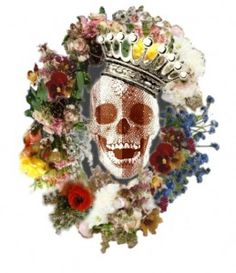 This is the Hamlet's logo for the performances played by the Mount Holyoke College's Student Theatre organization .. what a beautiful crowned skull!