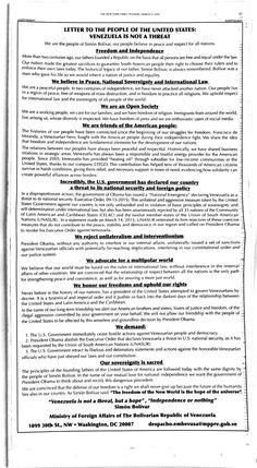 Próxima estAción esperanZa : Carta de la dictadura a #EEUU