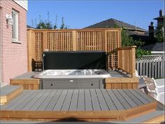 sunken hot tub 13 Find dozens of sunken hot tub ideas that will totally inspire you! Pick the best idea that you really love and start improving your very own backyard now! Hot Tub Privacy, Hot Tub Garden, Hot Tub Backyard, Whirlpool Deck, Sunken Hot Tub, Tub Enclosures, Deck With Pergola, Pergola Kits, Pergola Ideas