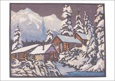 William S. Rice woodblock - Winter in the Klondike Bambi, Boxed Christmas Cards, Etching Prints, Litho Print, Snow Scenes, Woodblock Print, Printmaking, Block Prints, Cool Art