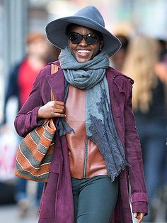 Star Tracks: Monday, October 12, 2015 | FALL OR NOTHING  | A smiley Lupita Nyong'o shows off her flawless fall style while out and about in New York City on Saturday.