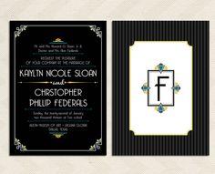 "Art Deco Wedding Invitation Art Deco: 5"" x 7"". $20.00, via Etsy."