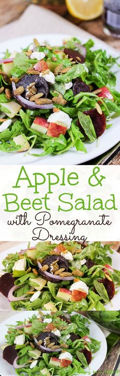 Healthy Beet and Apple Salad recipe with goat cheese and pumpkin seeds.  This super foods apple and beet salad recipes features a simple homemade dressing with pomegranate vinegar and heart healthy olive oils.  / Running in a Skirt