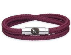 BOING Sailing Rope Wristband Bracelet: Skinny Double Wrap MAROONED - Burgundy | Lush Labels British designed jewellery, accessories & gifts