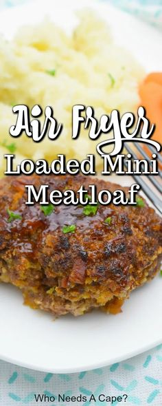 Need a comforting meal in a short amount of time? Whip up Air Fryer Loaded Mini Meatloaf. With beef bacon cheese and BBQ sauce this meal is delicious! Air Frier Recipes, Air Fryer Oven Recipes, Air Fryer Dinner Recipes, Vegan Recipes Easy, Beef Recipes, Cooking Recipes, Amazing Recipes, Amish Recipes, Dutch Recipes
