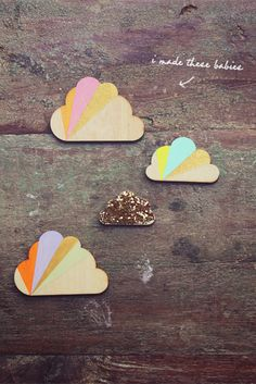 #diy cloud magnets I like the design but would also be neat if they were rimmed in silver.