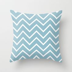 Sky Blue and White Chevron Throw Pillow by Zen and Chic - $20.00