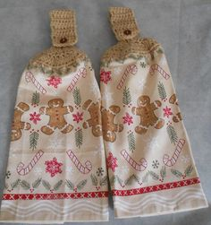 Crocheted top Gingerbread Boy Christmas towel set Christmas Gingerbread Handle Top Kitchen Towel Set  Granny Kitchen Towel Hand Towel Set by CrochetByIlene on Etsy