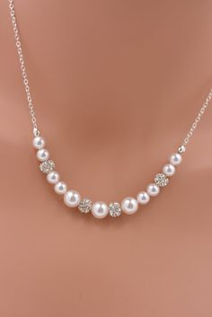 LISTING IS FOR 5 NECKLACES:  These 5 lovely pearl necklaces feature 6mm and 8mm white Swarovski pearls (5 colors available) alternated with
