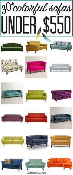 30+ affordable sofas, ALL under $550 each! AMAZING! If you've been searching for a cheap, colorful couch, you've got to save! Want a purple sofa or a green sofa? Want to say YES to a yellow sofa or maybe you're taken with a teal sofa? ALL of them are here!!