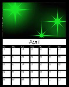 April Printable Calendars 2013