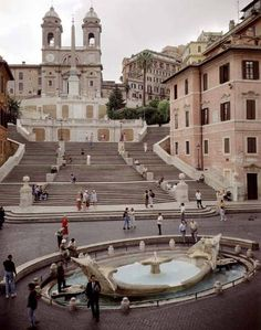 Spanish Steps (or Scalinata) in Rome, Italy - 138 steps that climb a steep slope between the Piazza di Spagna at the base and Piazza Trinità dei Monti, dominated by the Trinità dei Monti church at the top; the Scalinata is the widest staircase in Europe; designed by Francesco De Santis, built between 1723-26; photo by Pietro Bernini