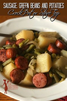 Pork Recipes, Slow Cooker Recipes, New Recipes, Crockpot Recipes, Cooking Recipes, Favorite Recipes, Sausage And Green Beans, Green Beans And Potatoes, One Pot Meals