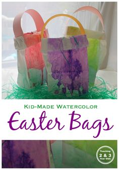 This Easter activity results in colorful homemade bags that can be used for an Easter egg hunt with toddlers and preschoolers. #toddler #preschool #easter #spring #easterbasket #watercolors #finemotor #paint #AGE2 #AGE3 #AGE4 #teaching2and3yearolds Easter Activities For Kids, Spring Activities, Easter Crafts For Kids, Easter Ideas, Toddler Activities, Holiday Activities, Therapy Activities, Holiday Crafts, Preschool Eggs