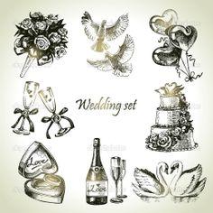 Wedding Illustrations   Wedding set. Hand drawn illustration - Stock Illustration