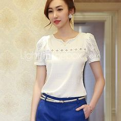 Summer 2017 Fashion Lady Women Lace Blouse Solid Short Sleeve Doll Blouse Sexy V Neck Hollow Out Chiffon Blouse Tops for girl Chiffon Blouses, Chiffon Shirt, Chiffon Tops, Shirt Blouses, Lace Chiffon, White Chiffon, Top Mode, Style Japonais, Plus Size Blouses