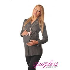 Wrap Over Cardigan Pregnancy Nursing 9002 Dark Gray Elegant and Warm Maternity Wrap Over Cardigan is ideal throughout your pregnancy and beyond. Built in inside and outside knitted drawstring ties allow to adjust the fit around your growing baby bump. Our Purpless maternity cardigan makes a useful cover-up after the birth making breastfeeding experience discrete and comfortable.