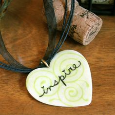 """Hand Painted Porcelain Pendant Green Heart """"Inspire"""" by Chiron Creations"""