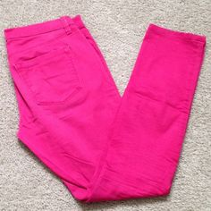 Pink denim Pink Skinny Jeans! So cute! They are in good used condition. Only signs of wear are at the seams... Just some fading! No holes or tears!  Size 4. Modern Skinny. Mid rise pant. LOFT Jeans Skinny