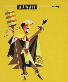 Vintage Quantus Airline Travel Poster: King Kamehameha of Hawaii http://fancytemplestore.com